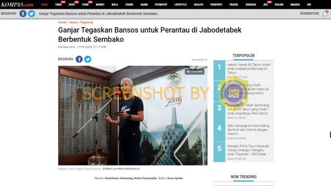 Hoax Tagih Bantuan Ganjar untuk Jabodetabek
