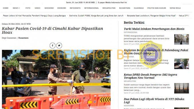 Hoax Pasien Cimahi Kabur