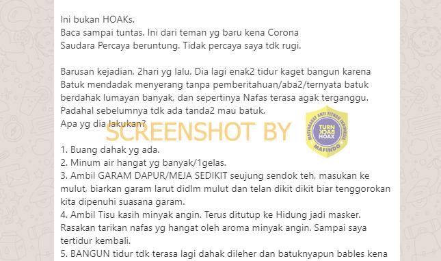 Hoaks Air Garam untuk Corona
