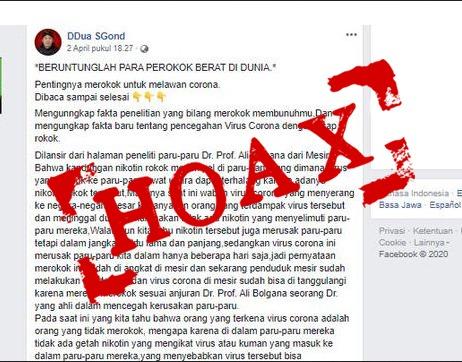 Hoax Perokok Bebas Covid