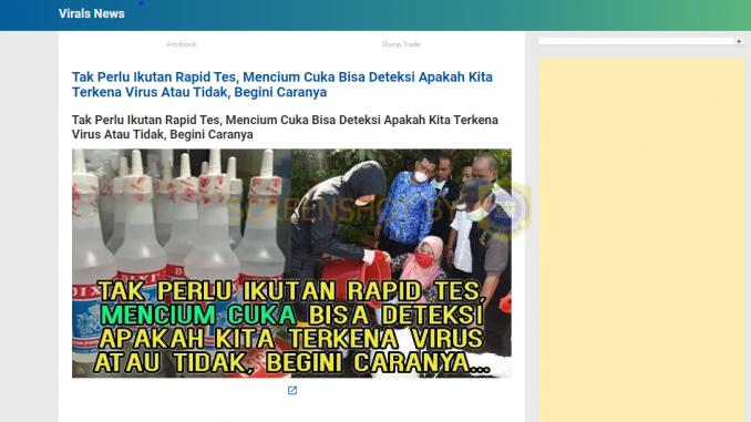 Hoax Tak Perlu Ikut Rapid Test
